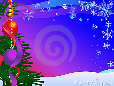 Christmas Card Illustration with snow, sky, snow, snowflakes, baubles and tree : Dreamstime