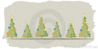 Christmas card with 6 trees and snow