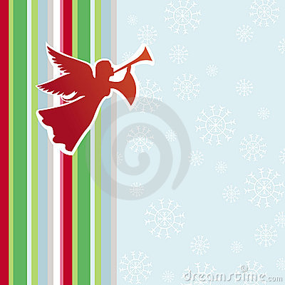 Christmas card with angel and flute