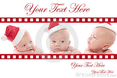 Christmas Card: Babies in Santa Hat