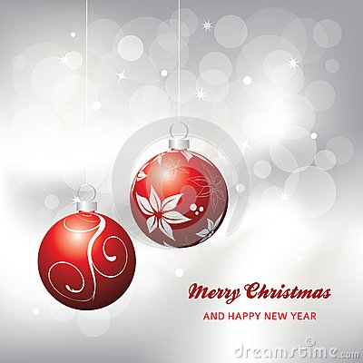Christmas card background, red and silver