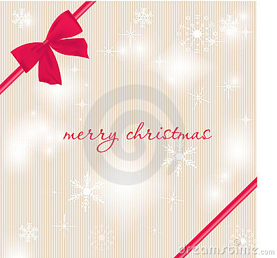 Christmas card with beautiful red satin bow