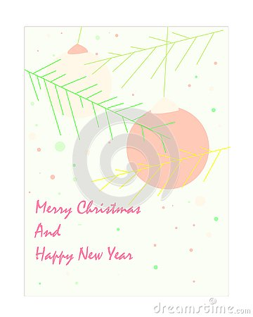 Christmas card in beige and peach tones Vector Illustration