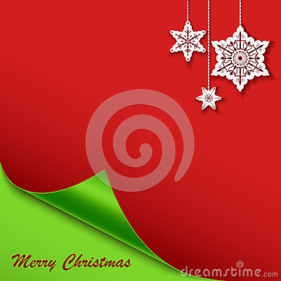 Christmas card with the bent corner and stars