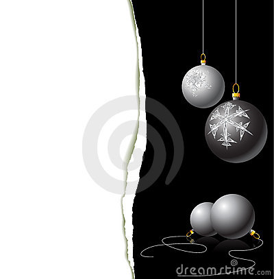 Christmas card - black and white bulbs
