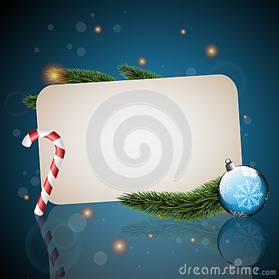 Christmas card with blue background