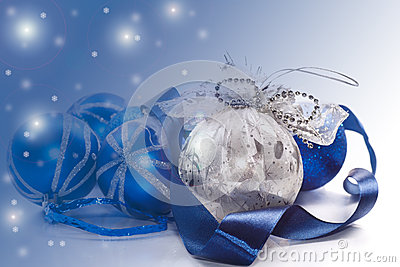 Christmas card with blue ball