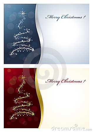 Christmas Card Blue or Red Background