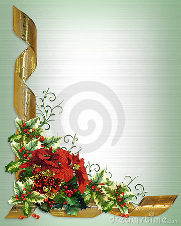 Free Christmas Card Border Holly Floral Stock Photography - 15091512