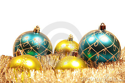 Christmas card with christmas-tree decorations