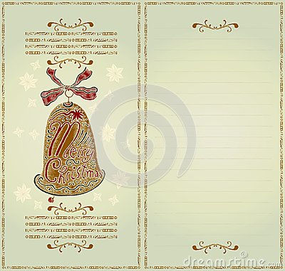 Christmas card color woodcut