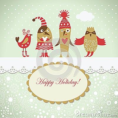 Christmas card with cute birds