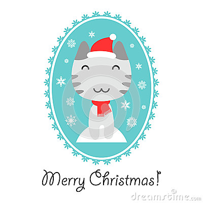 Christmas card with cute kitty