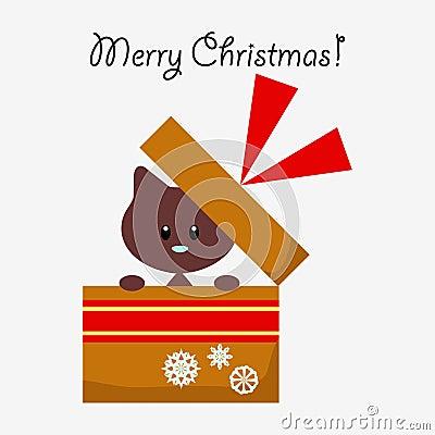 Christmas card with cute kitty