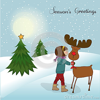 Christmas card with cute little girl caress a rein