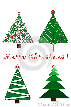 Christmas card design with four trees_