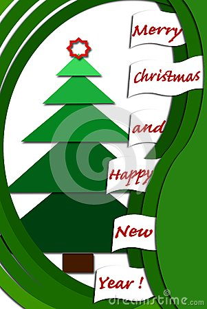 Christmas card design with green layers