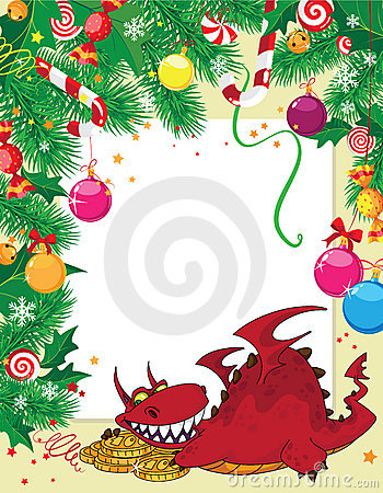 Christmas card and dragon with money