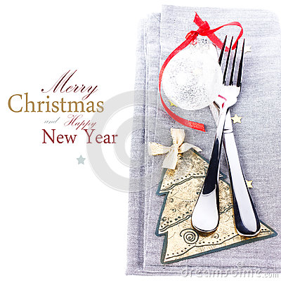 Christmas card with Festive table place setting and christmas de