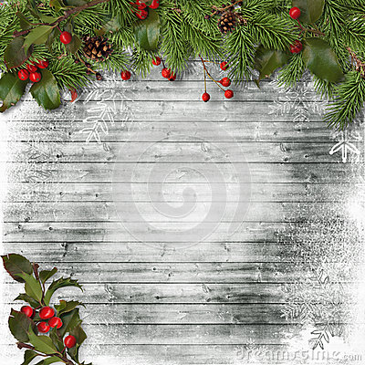 Free Christmas Card. Fir Branches And Holly On A Wooden Background Stock Photos - 61776213