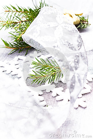 Christmas Card with Fir tree branch and Silver Christmas Decorat