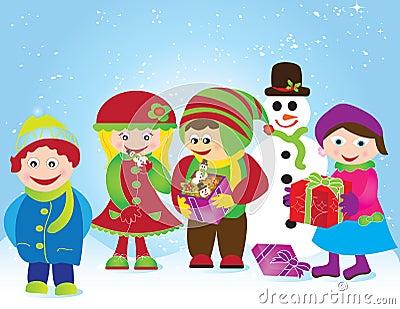 Christmas card frame gift figures tree