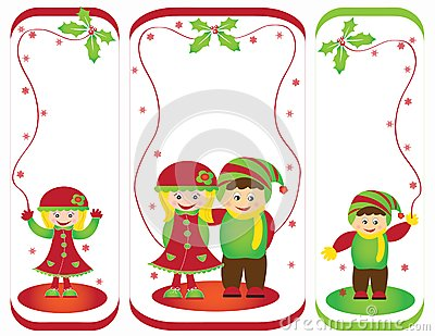 Christmas card frame gift figures tree