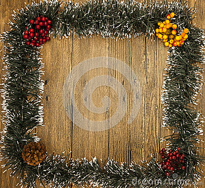 Free Christmas Card From Christmas Trees And Clusters Of Mountain Ash Stock Image - 61348751