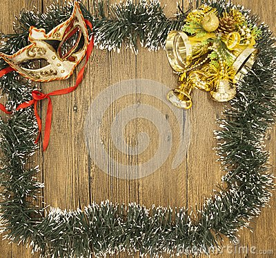 Free Christmas Card From Christmas Trees With Masquerade Mask And Christmas Decorations. Stock Photos - 61350453