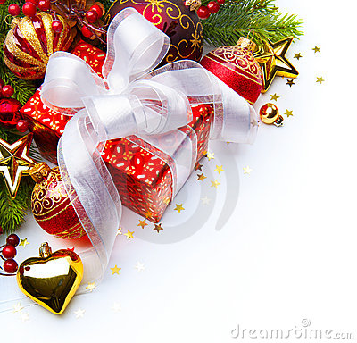 Free Christmas Card Gift Boxes Christmas Decorations Stock Photo - 22413690