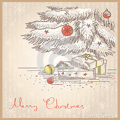 Christmas card with gifts and presents.Vector draw
