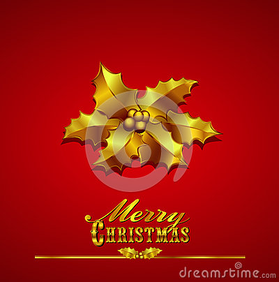 Christmas Card with Gold Holly on a Red Background
