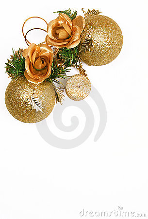 Christmas card with golden balls and candle