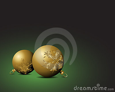 Christmas card - Golden bulbs