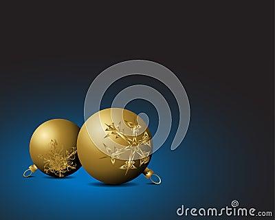 Christmas card - Golden bulbs with snowflakes orna