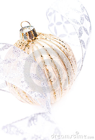 Christmas Card with Golden Christmas ball and silver festive dec