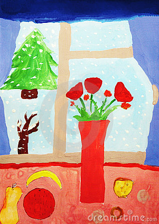 Christmas card gouache drawing
