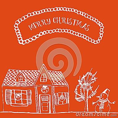 Free Christmas Card Hand Drawn Royalty Free Stock Image - 63022516