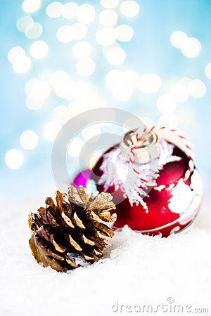Christmas card with handmade bauble and cone with festive decora
