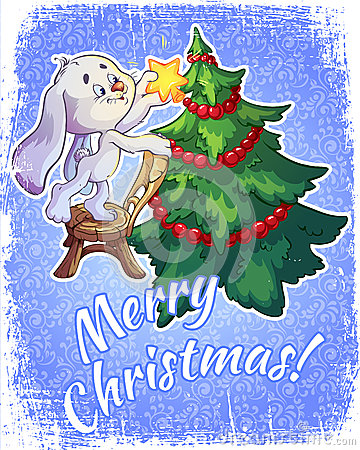 Christmas card with a hare and a Christmas tree