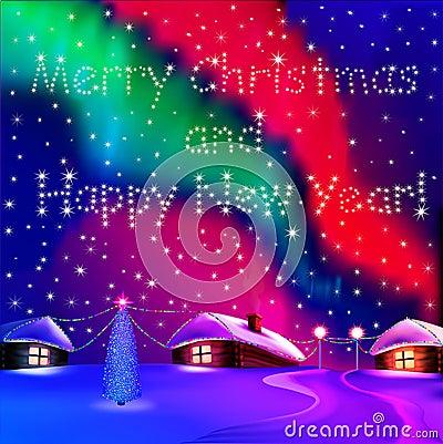 Christmas card with houses and night Northern ligh