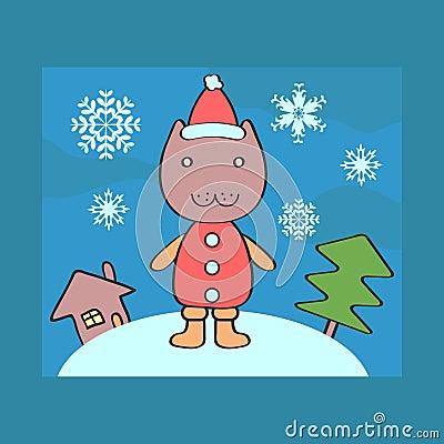 Christmas card with kitty