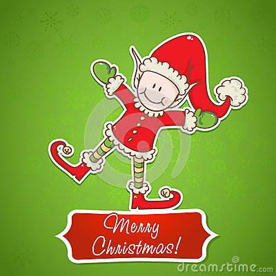 Christmas card with little elf Santa helper