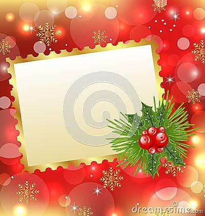 Christmas card with mistletoe and pine