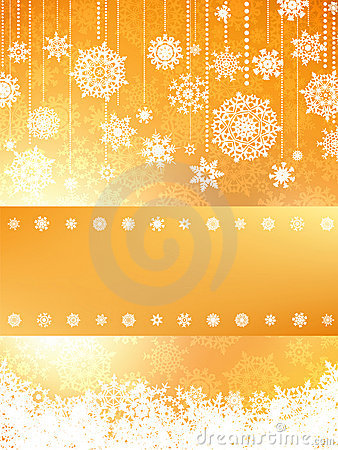 Christmas card in orange color. EPS 8