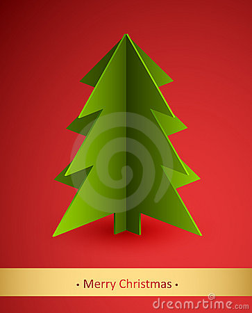 Christmas card with paper fir tree