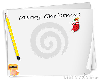 A christmas card with a pencil, a sharpener and a sock