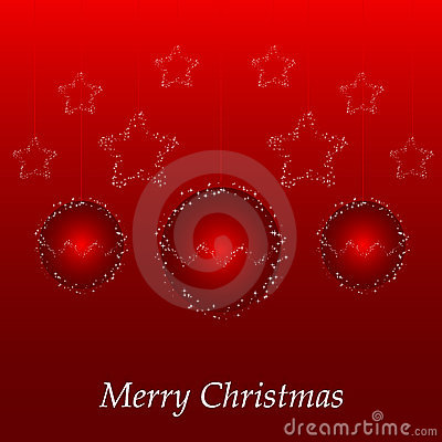 Christmas card with red ball and stars