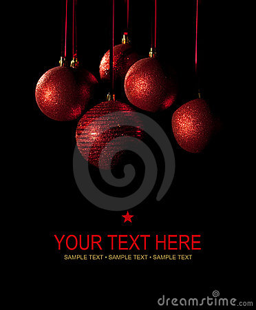 Free Christmas Card - Red Balls On Black Background Royalty Free Stock Images - 17203689