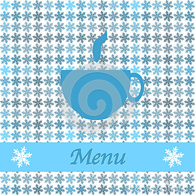 Christmas card for restaurant menu, with tea cup